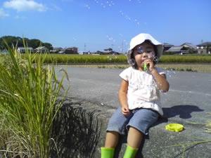 田んぼにすわる娘の画像